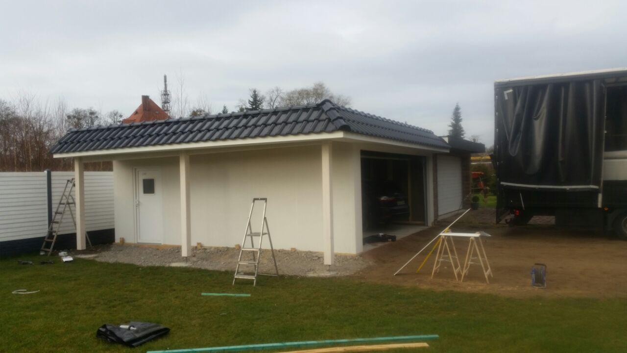 gro raumgarage garage 6x6m mit kleinem carport fink garage. Black Bedroom Furniture Sets. Home Design Ideas