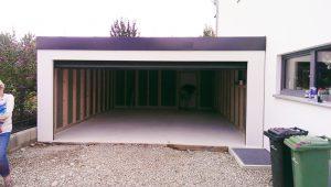 Großraumgarage, Doppelgarage, 5x7m in Holzständerbauweise mit breitem Garagentor